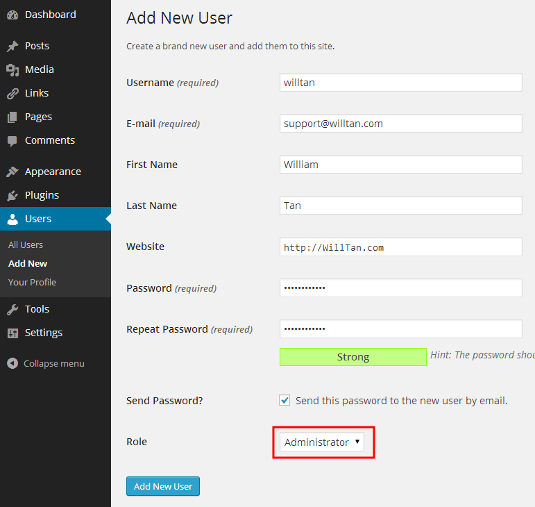 how to change wordpress login username and password