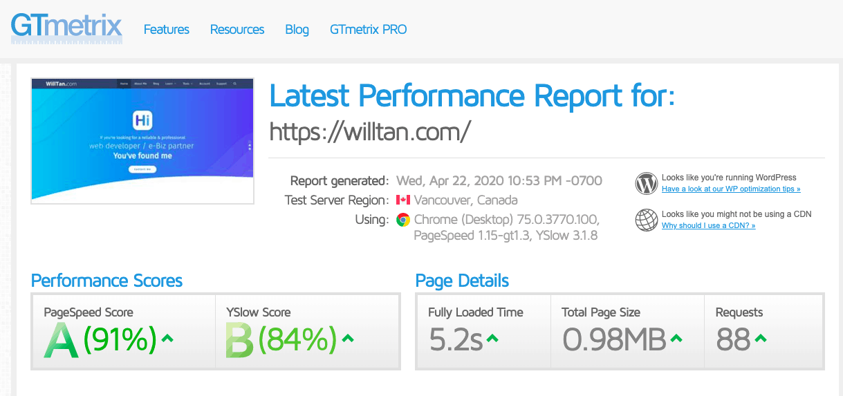 PageSpeed A